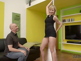 Old man fucks graceful babe who wants to become a stripper