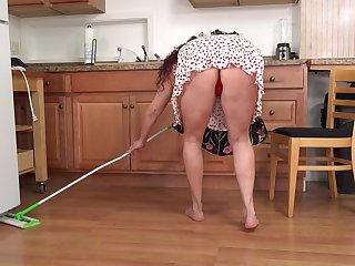 Titillating lecherous housewife masturbating in dramatize expunge kitchen