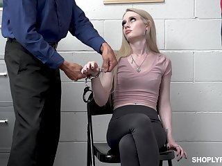 Shoplifting girl Emma Starletto is punished by kinky security guy
