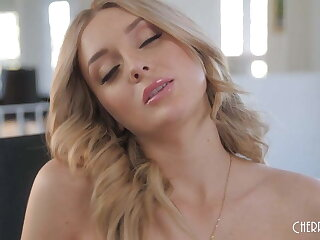 Natural Blonde Charlotte Sins, JOI and Masturbation all round Stockings