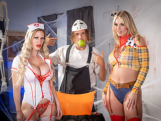 MILFs in costume, Casca Akashova & Rachael Cavalli, need some dick after a chubby scare!!