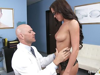 Gentle fucking with provocative Rahyndee James surrounding stockings