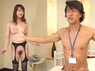 Slim Japanese with hairy cunt, nude XXX tryout