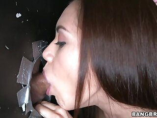 Gloryhole is the best place for slutty Sofia Lata to blow strangers