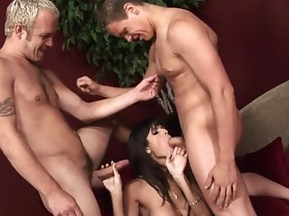 Bisexual dudes in astonishing MMF threesome hither horny Shy Love