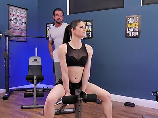 Fit girl suits trainer about insane sex
