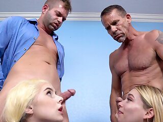 Skinny blonde cheerleaders Aria Banks and Jessica Marie have a foursome