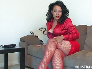 Danica Collins spreads their way legs and drills their way cunt with a dildo