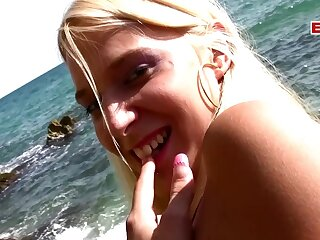 French amateur blonde teen at outdoor sex