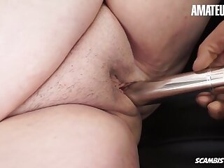 Dildo Masturbation In Old Obese Granny Fucking With Frying Guy