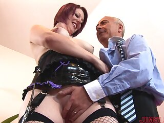 Horny devoted to muff wearing fishnet gest fucked by an older man - Shay