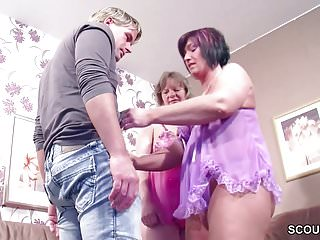 German Step-Mom and Aunt Seduce Young Boy to Fuck her