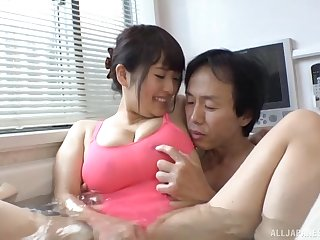 Wet amazing titjob in the bathtub from Japanese bombshell Gotou Rika