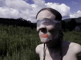 Ball gagged, tied up and tortured outdoors blonde whore Sierra Cirque