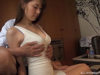 Tachibana Ruri takes off her tight dress and receives cock