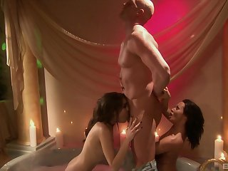 FFM threesome with Sasha Grey and Sandra Romain sucking balls deep