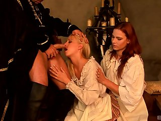 Carla Cox and Jasmina share dick in a costumed role playing threesome