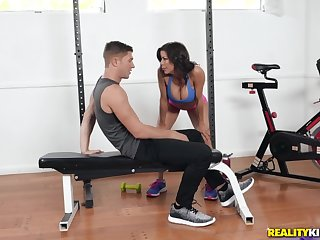 Sporty Alexis Fawx and Natalie Brooks share cock after a workout