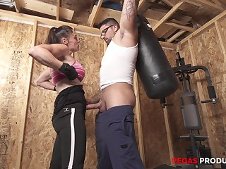Sporty busty brunette Tanya gets a hardcore fuck at the gym