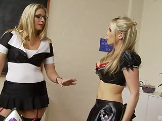 Kinky lesbians Jamie Brooks and Jordan Kingsley stuff each other