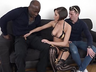 Anabelle fucks a big black cock doggy style with her cuckold husband