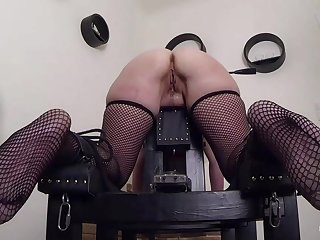 Blonde French slave Marina gets anal trained. First an butt plug, next a well-known anal toy.