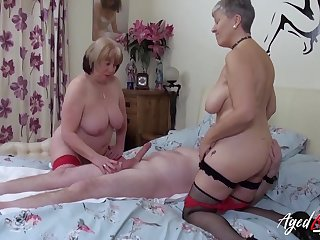 Two full-grown whores genteel his dick to a triple