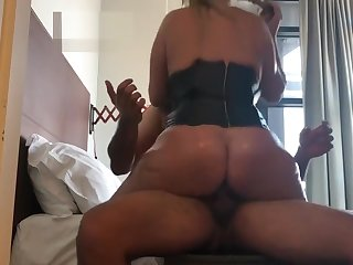 big tits bouncing as she rides for creampie