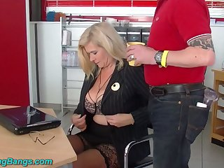 Neglected huge breasted warehouse secretary Marina Montana is fucked by studs