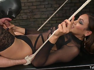 Shemale domme in lingerie sodomy fucks guy