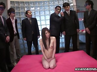 Professional Asian hooker Rina Serizawa serves the delegation from Tokyo