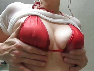 Cute MILF with big hard wet nipples
