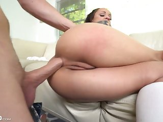 Long-legged gal with simple tits Holly Hendrix lets fat big bushwa into her anus