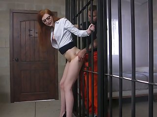 Hot haymaker milf in glasses Maya Kendrick is fucked apart from horny prisoner