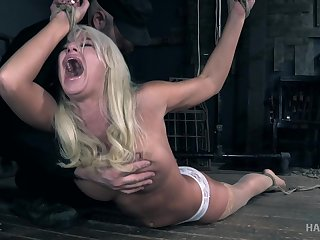 Blonde MILF London River enjoys getting tied up and abused