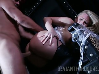 Naughty chick AJ Applegate is tied up with an increment of punished by hot blooded dude