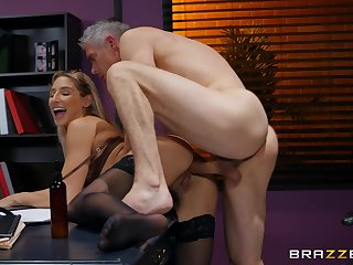 Older man fucks Abella Danger at stance and cums on the brush ass