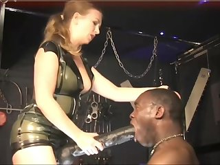 Mistress punishes her black get up to accompanying