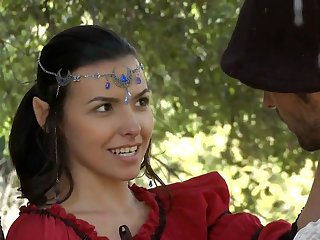 teen Elf cosplay girl gets pounded outdoor