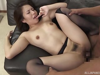 Miserly Asian cissified endures a very fat cock