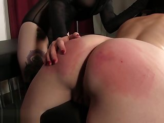 Spanked and defenseless while husband watches