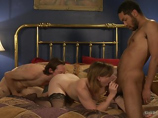 Threesome in filthy porn scenes of the amateur wife