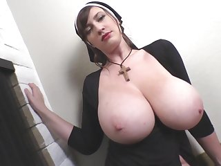 Busty Lana Kendrick Halloween Nun fetish cosplay - big natural tits