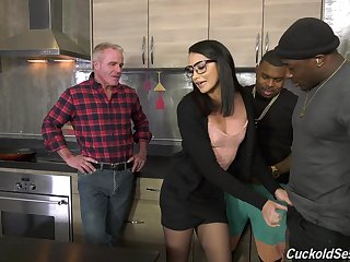 Nasty interracial threesome for cuckold costs - Avi Love