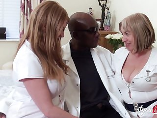 Two chubby enthusiast nurses bang a handful of black man and eat his cum greedily