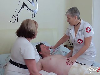 BBW nurses help their patient with his sexual needs
