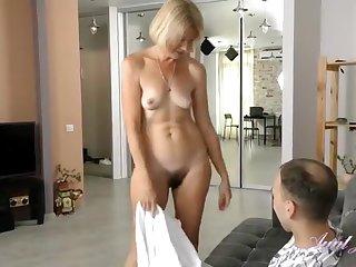 Horny GILF With Hairy Vagina Seduces Handsome Guy