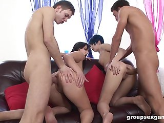 Hard anal coition leads the whores to swap partners and swallow