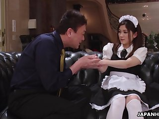 Cute Asian maid gets fucked at the end of one's tether her perverted partial to boss