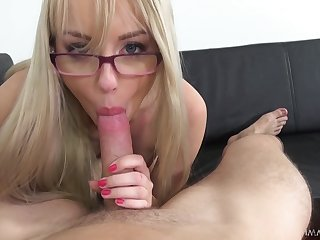 Cutest blonde with buxom ass Kira Thorn gives will not hear of head primarily POV camera